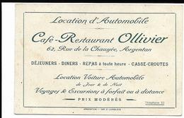 Carte Publicitaire Café Restaurant OLLIVIER ARGENTAN 12X8 - Mapas