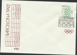 50-248 Estonia FDC Mi 181 Barcelona Olympics 1992 - Estonie