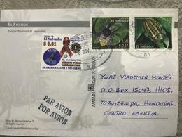 Circulated Postcard El Salvador 2012, Butterflies, Landscape, ( Stamps Of Lions Club, Beetle ) - Salvador