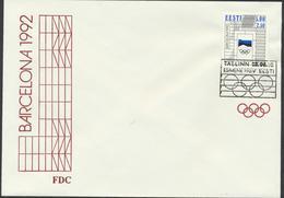 50-274 Estonia FDC Mi 182 Barcelona Olympics 1992 - Estonie