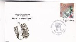 PUEBLOS INDIGENAS. TEJIDO MAPUCHE TIMBRE. FDC 1995 BUENOS AIRES, ARGENTINA - BLEUP - Archéologie