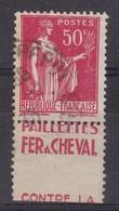 PUBLICITE: TYPE PAIX 50C ROUGE FER A CHEVAL-paillettes ACCP 809 OBLITERE - Advertising