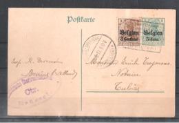 EP Belgique Occupation Allemande - Braine L'Alleud Vers Tubize 1917 - Entiers Postaux