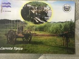 Circulated Postcard El Salvador 2012, Oxen And Cart , ( Fiirefighters Stamps ) - Salvador