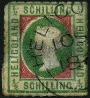 HELGOLAND 1II O, 1867, 1/2 S. Bläulichgrün/rötlichkarmin, Type II, Rundstempel, Starke Mängel, Fein, Gepr. Schulz, Mi. 2 - Héligoland