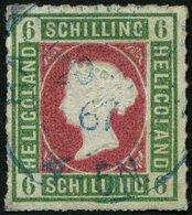 HELGOLAND 4 O, 1867, 6 S. Graugrün/lilarosa, Blauer K2 HAMBURG ST.P., Repariert Wie Pracht, Fotobefund Müller, Mi. 600.- - Héligoland