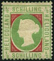 HELGOLAND 6a *, 1869 1/2 S. Blaugrün/dunkelkarmin, Falzreste, Feinst, Mi. 350.- - Héligoland