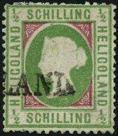 HELGOLAND 6b *, 1870, 1/2 S. Mittelbläulichgrün/karmin, L1, Repariert, Fein, Gepr. Schulz, Mi. 320.- - Héligoland