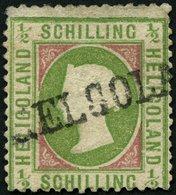 HELGOLAND 6e O, 1872, 1/2 S. Hellolivgrün/karmin, L1, Kleine Mängel, Feinst, Gepr. C. Brettl, Mi. 200.- - Héligoland