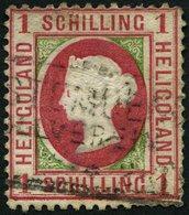 HELGOLAND 7a O, 1871, 1 S. Karmin/gelblichgrün, R3 GEESTEMÜNDE ZOLLVEREIN, Riss Oben Und Diverse Mängel, Mi. 380.- - Héligoland