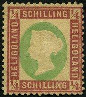 HELGOLAND 8a (*), 1873, 1/4 S. Dunkelrotkarmin/lebhaftgelblichgrün, Ohne Gummi, Stark Repariert Sonst Pracht, Gepr. Este - Héligoland