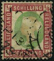 HELGOLAND 8a O, 1873, 1/4 S. Dunkelrotkarmin/lebhaftgelblichgrün Mit Rundstempel (25% Aufschlag!), Stark Repariert, Gepr - Héligoland