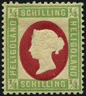 HELGOLAND 8F *, 1873, Fehldruck: 1/4 S. Grün/karmin, Falzrest, Ein Kurzer Zahn Sonst Pracht, Fotobefund Schulz, Mi. 120. - Héligoland