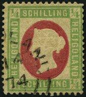 HELGOLAND 8F O, 1873, Fehldruck: 1/4 S. Grün/karmin, Rundstempel (25% Aufschlag!), Diverse Kleine Beanstandungen Sonst F - Héligoland