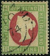 HELGOLAND 10 O, 1873, 11/2 S. Hellgrün/karmin, Rundstempel, Etwas Korrigiert Sonst Pracht, Gepr. Brettl Und Lemberger, M - Héligoland