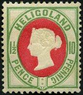 HELGOLAND 14d *, 1889, 10 Pf. Hellgrün/rot, Falzreste, Feinst, Mi. 180.- - Héligoland