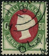 HELGOLAND 16aI O, 1875, 50 Pf. Grün/dunkellilakarmin Mit Plattenfehler Weißer Punkt An Wertziffer 6, Rundstempel, Ein Br - Héligoland