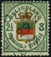 HELGOLAND 17b O, 1877, 3 Pf. Grün/orange/zinnoberrot, Rundstempel, Starke Mängel, Fein, Gepr. U.a. W. Engel, Mi. 1300.- - Héligoland