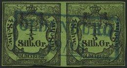 OLDENBURG 1 Paar O, 1855, 1/3 Sgr. Schwarz Auf Grünoliv Im Waagerechten Paar, Idealer Zentrischer Blauer R2 OLDENBURG, Z - Oldenbourg
