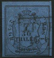 OLDENBURG 2I O, 1853, 1 Sgr. Schwarz Auf Lebhaftgrauultramarin, Type I, R2 ZETEL, Pracht, Gepr. Pfenninger - Oldenbourg