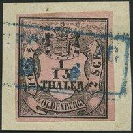 OLDENBURG 3I BrfStk, 1852, 1/15 Th. Schwarz Auf Mattbräunlichrot, Type I, Prachtbriefstück, Mi. 100.- - Oldenbourg