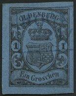 OLDENBURG 6a O, 1859, 1 Gr. Schwarz Auf Hellblau, Blauer R2 HOOKS(IEL), Breitrandig, Pracht, Mi. (60.-) - Oldenbourg