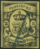 OLDENBURG 8 O, 1859, 3 Gr. Schwarz Auf Graugelb, Farbfrisch, Pracht, Gepr. Drahn, Mi. 750.- - Oldenbourg