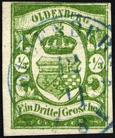 OLDENBURG 10b O, 1861, 1/3 Gr. Moosgrün, Fotoattest Brettl: Drei Seiten Breitrandig, Oben Rechts Berührt. Winzige Randsc - Oldenbourg