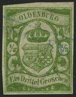 OLDENBURG 10b O, 1861, 1/3 Gr. Moosgrün, Repariert Wie Pracht, Mi. (3000.-) - Oldenbourg