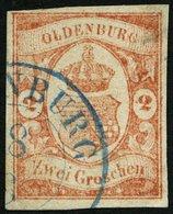 OLDENBURG 13 O, 1861, 2 Gr. Schwärzlichrotorange, Feinst (kleine Helle Stelle), Mi. 550.- - Oldenbourg