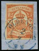OLDENBURG 13 BrfStk, 1861, 2 Gr. Schwärzlichrotorange, Rechts Teils Berührt Und Waagerechter Bruch Sonst Dekoratives Pra - Oldenbourg
