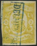 OLDENBURG 14 O, 1861, 3 Gr. Graugelb, Blauer R2 DELMENHORST, Untere Linke Ecke Lupenrandig Sonst Vollrandig Pracht, Sign - Oldenbourg