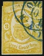OLDENBURG 14 O, 1861, 3 Gr. Graugelb, Oben Links Kleiner Schnittfehler Sonst Pracht, Gepr. Brettl, Mi. 550.- - Oldenbourg
