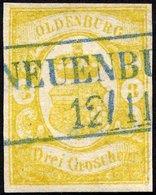OLDENBURG 14 O, 1861, 3 Gr. Graugelb, Blauer R2 NEUENBURG!, 2 Kleine Rückseitige Aufhellungen, Bildseitig Kabinett, Mi.  - Oldenbourg