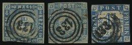 SCHLESWIG-HOLSTEIN 5I,6,7 O, 133 (SEGEBERG) Auf 11/4 S. Grauultramarin Und Mittelblau/weißrosa, 3 Werte Mit Klaren Stemp - Schleswig-Holstein