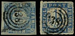 SCHLESWIG-HOLSTEIN 6,7 O, 138 (BORNHÖVED) Auf 11/4 S. Grauultramarin Und Mittelblau/weißrosa, 2 Werte Mit Mängeln - Schleswig-Holstein