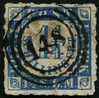 SCHLESWIG-HOLSTEIN 7 O, 148 (LAUENBURG) Auf 11/4 S. Mittelblau/weißrosa, Pracht - Schleswig-Holstein