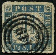 SCHLESWIG-HOLSTEIN 7 O, 149 (MÖLLN) Auf 11/4 S. Mittelblau/weißrosa, Feinst (Eckbug) - Schleswig-Holstein