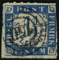 SCHLESWIG-HOLSTEIN 7 O, 150 (RATZEBURG) Auf 11/4 S. Mittelblau/weißrosa, Marke Fehlerhaft - Schleswig-Holstein