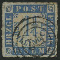 SCHLESWIG-HOLSTEIN 7 O, 172 (MARNE) Auf 11/4 S. Grauultramarin/weißrosa, Pracht - Schleswig-Holstein