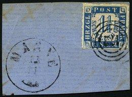 SCHLESWIG-HOLSTEIN 7 BrfStk, 172 (MARNE) Auf 11/4 S. Mittelblau/weißrosa, Prachtbriefstück Mit Nebenstempel - Schleswig-Holstein
