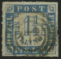 SCHLESWIG-HOLSTEIN 7 O, 173 (TRITTAU) Zentrisch Auf 11/4 S. Grauultramarin, Pracht - Schleswig-Holstein