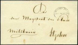 SCHLESWIG-HOLSTEIN Ca. 1851, SCHLESWIG.HOLST: FELDPOST No. I, Ovalstempel Auf Militärbriefhülle Nach Itzehoe, Rückseitig - Schleswig-Holstein