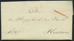 SCHLESWIG-HOLSTEIN 1814, Siegelbrief Mit Inhalt Von Kiel Nach Husum, Komplettes Lacksiegel Königl:/zur Besitzn:der/zu Rä - Schleswig-Holstein