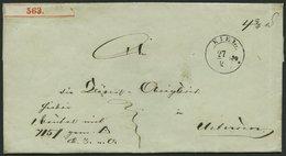 SCHLESWIG-HOLSTEIN 1849, Paketbegleitbriefhülle Von KIEL (K11/2) Nach Uetersen, Handschriftlich D.S. M Or., Rückseitiges - Schleswig-Holstein