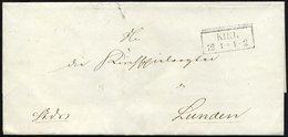 SCHLESWIG-HOLSTEIN Ca. 1849, Brief Von KIEL (R1) Nach Lunden, Rückseitig Vollständiges Lacksiegel Vom Departement Des Kr - Schleswig-Holstein