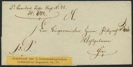 SCHLESWIG-HOLSTEIN Ortsbrief Des 5. Brandenb. Inftr. Regiment No. 48, Zug 642, Unten Kleiner Einriß Sonst Pracht - Schleswig-Holstein