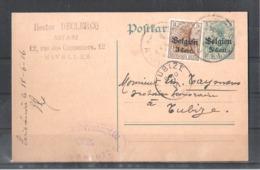 EP Belgique Occupation Allemande - Nivelles Vers Tubize 1916 - Notaire Declercq - Entiers Postaux