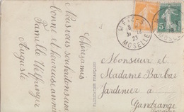 CP De Metz (Bonne Année) (T201 Metz -3 Moselle) Sur TP Fr 5+5c Le 31/12/23 Pour Gandrange - Marcophilie (Lettres)