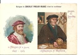 """Chromos Chocolat Poulain Orange Série Les Peintres Célèbres """"Holbein Le Jeune Astronome N Kratzer Musée Du Louvre"""" N°1 - Poulain"""